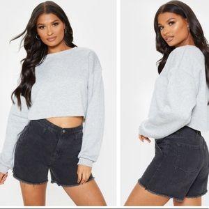 Pretty Little Thing Crop Gray Sweatshirt Sz M